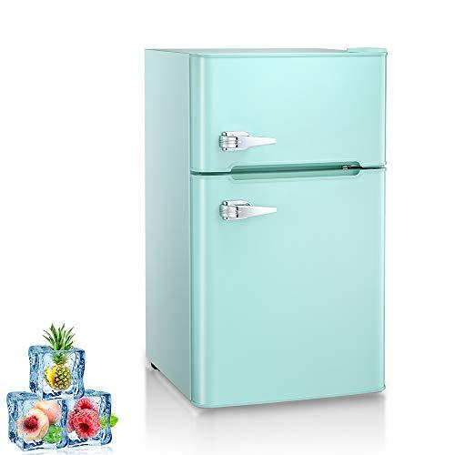 Kismile Double Door 3.2 Cu.ft Compact Refrigerator with Top Door Freezer,Freestanding mini Fridge with Adjustable Temperature,Upright Freezer for Apartment,Home,Office,Dorm or RV (Green, 3.2 Cu.ft)