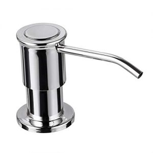 SAMODRA Sink Soap Dispenser, Stainless Steel Pump Head-Built in Design Refill Liquid from the Top with 17 OZ Bottle-3.15 Inch Threaded Tube (Chrome)