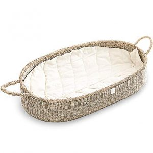 Baby Changing Basket with Luxury and Unique Leaf Linen Liner.
