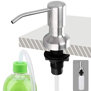 Brobery Sink Soap Dispenser and Extension Tube Kit, Stainless Steel, Come with 39 Inches Tube and 350ml Bottle for Kitchen (Brushed)