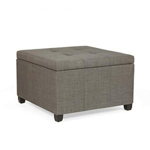 Adeco Ottoman with Storage Chest and Footrest – Classic Square Seat (Fawn Brown)