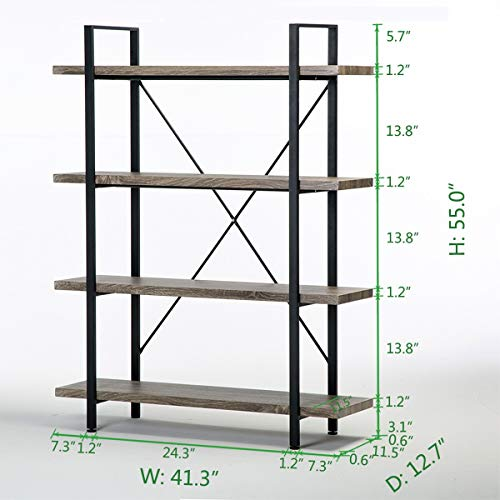 HSH 4-Shelf Vintage Industrial Bookshelf, Rustic Wood and Metal Bookcase Package deal Dimensions: 41.Three x 12.7 x 55.Zero inches