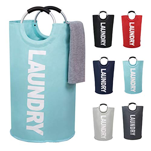 82L Large Laundry Basket Collapsible Fabric Laundry Hamper Tall Foldable Laundry Bag Handles Waterproof Washing Bin Clothes Bag Travel Shopping Bathroom College Essentials Storage (Light Blue,L)