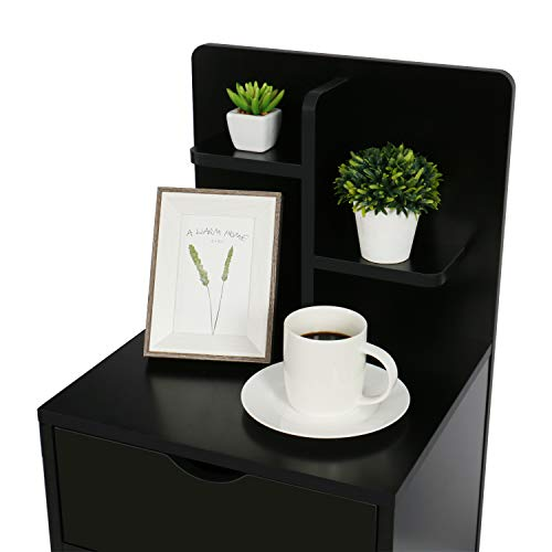 Nightstands Wooden Sofa Beside Table with Storage Shelf and 2 Drawers Nightstands Wooden Sofa Beside Table with Storage Shelf and 2 Drawers, Cabinet End Table Side Table for Bedroom Livingroom - Black.