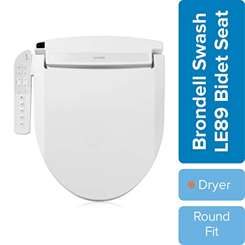 Brondell LE89 Swash Electronic Bidet Seat LE89, Fits Round Toilets, White – Side Arm Control, Warm Air Dryer, Strong Wash Mode, Stainless-Steel Nozzle, Nightlight and Easy Installation, LE89