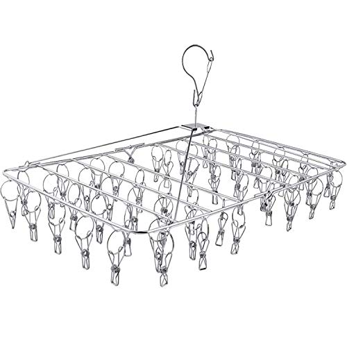 Fayleeko Clothes Drying Rack, 52 Clips Stainless Steel Laundry Drying Rack Folding Sock Hanger, Underwear Hanger, Clothes Hangers for Drying Towels, Bras, Lingerie, Baby Clothes,