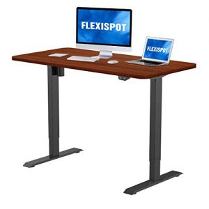 Flexispot Electric Standing Desk, 48 x 30 Inches Height Adjustable Desk, Sit Stand Desk Base Home Office Table Stand up Desk (Black Frame + 48 in Mahogany Top)