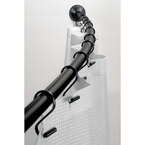 iDesign Curved Metal Shower Curtain Rod, Adjustable Customizable Curtain Rod for Bathtub, Stall, Closet, Doorway, 41-72 Inches, Matte Black