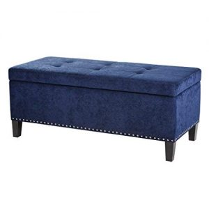 Madison Park Shandra II Storage Ottoman - Solid Wood, Polyester Fabric Toy Chest Modern Style Lift-Top Accent Bench for Bedroom Furniture, Medium, Blue