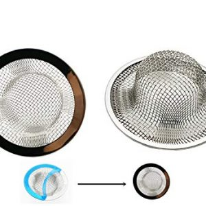 2 Pack-2.75'' Diameter Mesh Stainless Steel Sink Strainer Hair Catcher Stopper Bathtub Shower Drain Hole Filter