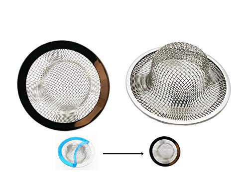2 Pack-2.75'' Diameter Mesh Stainless Steel Sink Strainer Hair Catcher Stopper Bathtub Shower Drain Hole Filter