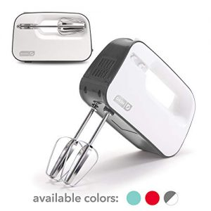 Dash Smart Store Compact Hand Mixer Electric for Whipping + Mixing Cookies, Brownies, Cakes, Dough, Batters, Meringues & More, 3 Speed, Grey