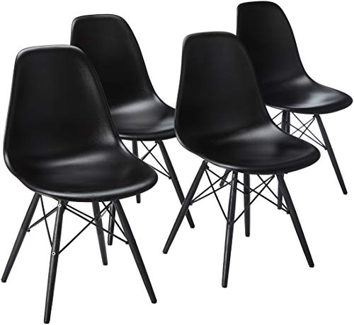 2xhome Set of 4 Mid Century Modern Black Side Armless No Arms Dark Wood Legs Eiffel for Dining Room Chairs Molded Shell Plastic Dowel Metal Desk