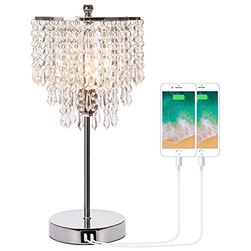 Touch Control Crystal Table Lamp with Dual USB Charging Ports, 3-Way Dimmable Bedside Touch Lamp Decorative Nightstand Lamp with Elegant Lamp Shade for Living Room Bedroom, B11 6W LED Bulb Included