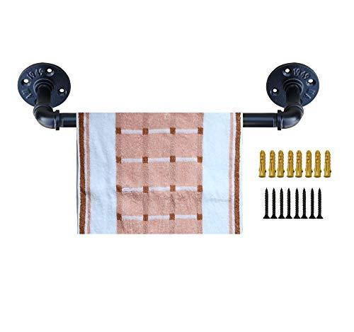 Industrial Pipe Towel Rack 18 Inch Towel Bar Fixture Set,Bath Towel Holder Towel Horse,Napkin Hanger | Wall Mounted DIY Style, Coated Finish,18 Inch
