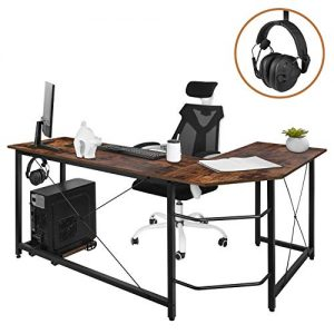 """AuAg Modern L-Shaped Home Office Desk with Iron Hook, 66 inch Sturdy Computer PC Laptop Table Corner Desk Workstation Larger Gaming Desk Easy to Assemble 66"""" x 47.5"""" x 29"""" (Vintage Wood)"""