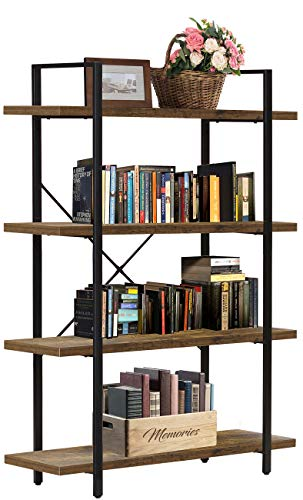 Sorbus Bookshelf 4 Tiers Open Vintage Rustic Bookcase Storage Organizer, Modern Industrial Style Book Shelf Furniture for Living Room Home or Office, Wood Look & Metal Frame (4-Tier, Retro Brown)