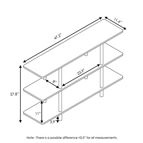 Furinno Turn-N-Tube 3-Tier Wide Display Shelf Guarantee: 1 12 months restricted producer.
