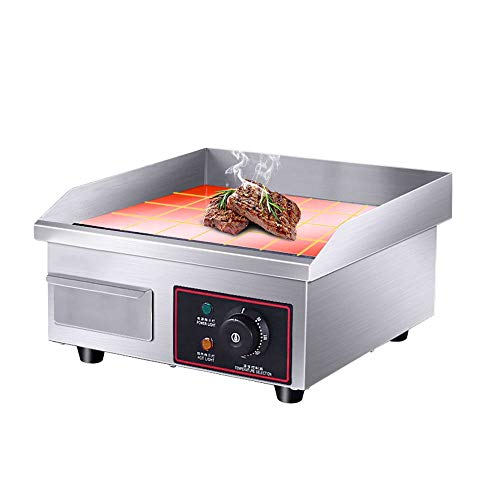 14'' Electric Countertop Griddle Grill,110V Stainless Steel Griddle Flat Commercial Heavyduty Grill Hot Plate Adjustable Temperature Control Restaurant Equipment for Kitchen Restaurant