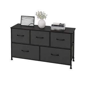 WLIVE Dresser with 5 Drawers, Fabric Storage Tower, Organizer Unit for Bedroom, Hallway, Entryway, Closets, Sturdy Steel Frame, Wood Top, Easy Pull Handle
