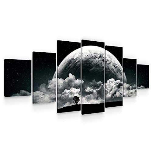 Startonight Huge Canvas Wall Art - Romantic Black and White Moon Large Framed Set of 7 40 x 95 Inches