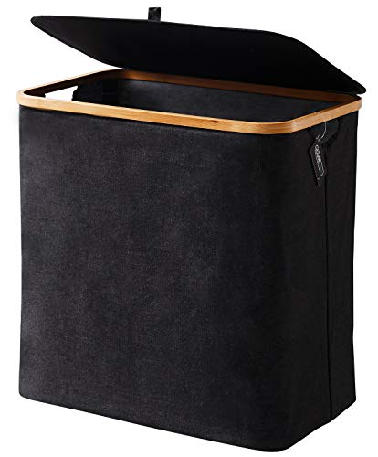 YOUDENOVA Laundry Basket with Lid, 90L Bamboo Dirty Clothes Hamper with Handle, Waterproof Collapsible Laundry Hamper Storage for Bedroom, Bathroom, Living Room, College Dorm