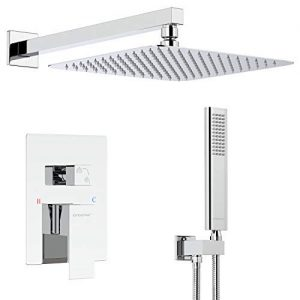 "EMBATHER Shower System,Chrome Shower Faucet Sets with 10"" Rain Shower Head For Bathroom, Wall Mount Square Shower Combo Set With Adjustable Handheld Bracket(Valve included)"