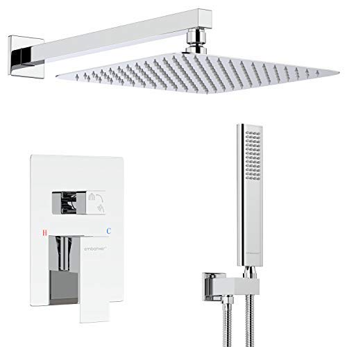 """EMBATHER Shower System,Chrome Shower Faucet Sets with 10"""" Rain Shower Head For Bathroom, Wall Mount Square Shower Combo Set With Adjustable Handheld Bracket(Valve included)"""