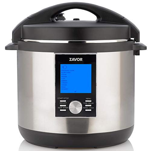 Zavor LUX LCD 8 Quart Programmable Electric Multi-Cooker: Pressure Cooker, Slow Cooker, Rice Cooker, Yogurt Maker, Steamer and More - Stainless Steel (ZSELL03)