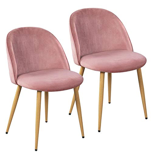 Yaheetech Dining Room Chairs Kitchen/Living Room Chairs Vanity/Makeup/Leisure/Accent Upholstered Side Chairs with Soft Velvet Seat Backrest and Adjustable Wooden Style Metal Legs Set of 2, Pink