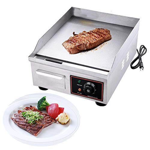 """Proshopping 1500W 14"""" Commercial Electric Countertop Griddle Grill, Stainless Steel Restaurant Grill, Tabletop Flat Grill, with Adjustable Temperture Control, 110V"""