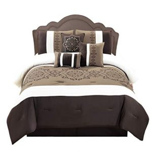 WPM 7 Pieces Complete Bedding Ensemble Brown Taupe Victorian Print Luxury Embroidery Comforter Set Bed-in-a-Bag Bedding-Elizabeth (Queen)