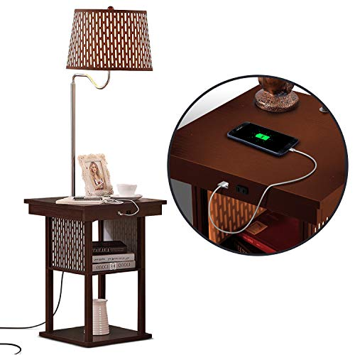 Brightech Madison - Narrow Nightstand with Built In Lamp, USB Port, Shelves for Bedrooms - Mid Century Modern End Table & Attached Floor Lamp For Living Room -Side Table & Reading Light - Havana Brown