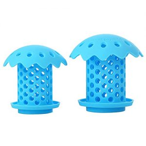 "Upgrade Bathtub Sink Drain Hair Catcher Protector Strainer, Durable Silicone Bath Tub Hair Strainer Protector for Bathroom, Kitchen, Shower Room, Snare Sizes 1.5"" and 1.75"" 2 back (blue)"