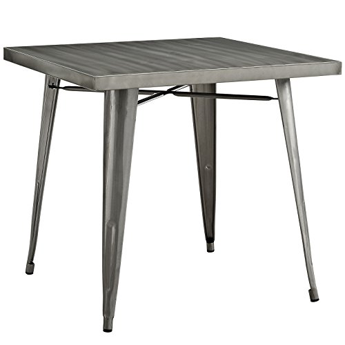 """Modway Alacrity 32"""" Rustic Modern Farmhouse Stainless Steel Metal Square Dining Table in Gunmetal"""