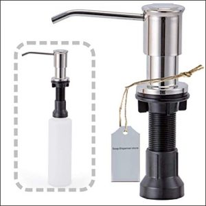 Xanadu Hotel Stainless Steel Built In Soap Dispenser For Kitchen Sinks,Refill From The Top 17 oz Bottle with Large and Thicker Mouth (Brushed Nickel),For Countertop with Large Liquid Soap Bottle
