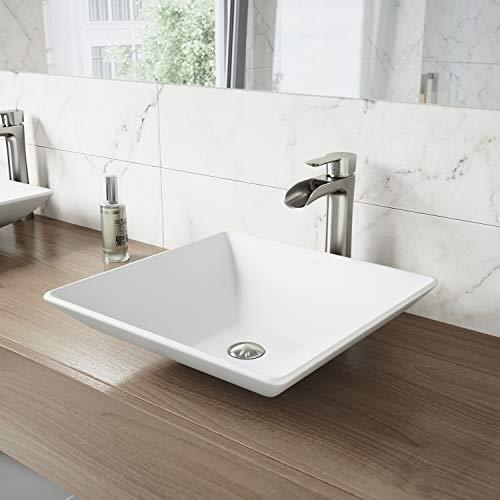 VIGO Hibiscus Matte Stone Vessel Bathroom Sink