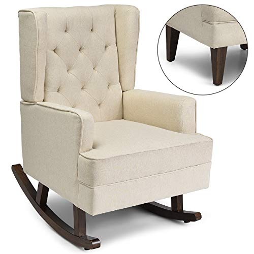 Giantex Nursery Rocking Chair, Modern High Back Fabric Armchair, Comfortable Relax Rocking Chair, Leisure Chair, Relax Chair Covered w/ 2 Forms Chair Feet, Easy Assembly and Concise Style (Beige)