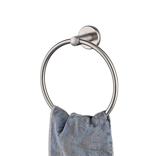 JQK Towel Ring, 304 Stainless Steel Hand Towel Holder for Bathroom, Brushed Finished Wall Mount, TR130-BN