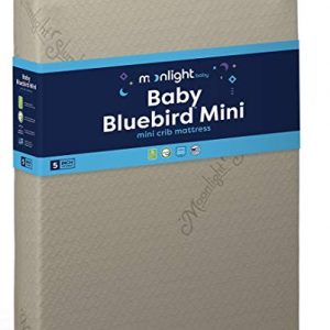 "Moonlight Slumber Mini Crib Mattress 5"" Dual Firmness: Baby Bluebird Waterproof Portable Crib & Toddler Bed Mattress : Cool Gel Memory Foam + Removable Cotton Mattress Pad. Hand Made in USA (38x24x5)"