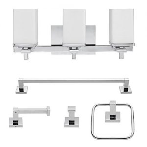 "Globe Electric 59221 Finn 5-Piece All-in-One Bath Set, 3-Light Vanity, Bar, Towel Ring, Robe Hook, Toilet Paper Holder, 8.07"", Polished Chrome"