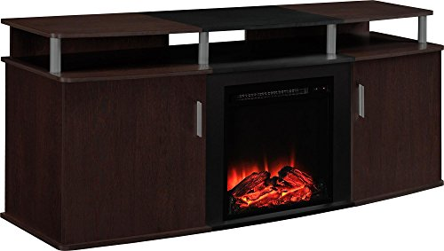 """Ameriwood Home Carson Electric Fireplace TV Console for TVs up to 70"""", Cherry"""