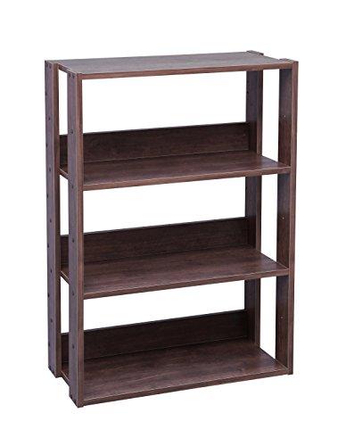 IRIS USA 3-Tier Wide Open Wood Bookshelf, Dark Brown OWR-600BR
