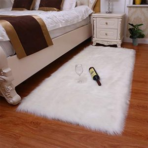 YOH Rectangle Luxury Fluffy Bedroom Bedside Rugs, Indoor Ultra Soft Faux Fur Sheepskin Area Rugs, Silky Long Wool Floor Carpet for Living Room Bench Kids Princess Room Decor, 2 x 4 Feet (White)