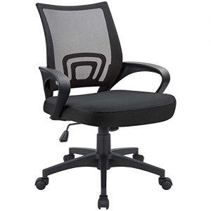 Devoko Office Chair Ergonomic Mid Back Swivel Mesh Chair Height Adjustable Lumbar Support Computer Desk Chair with Armrest (Black)
