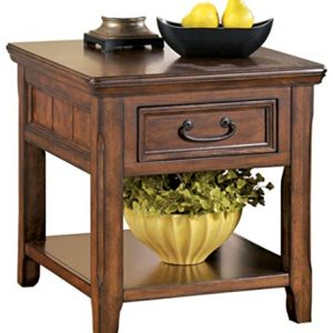Signature Design by Ashley Woodboro Rectangular End Table Dark Brown Finish