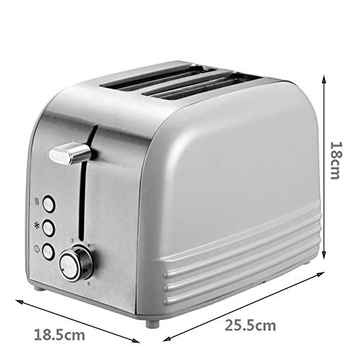 2-Slice Wide Slot Toaster,Stainless Steel Bread Toaster,6 Bread Shade Settings 2-Slice Wide Slot Toaster,Stainless Steel Bread Toaster,6 Bread Shade Settings,Toaster with Cancel Defrost Reheat Settings White 25.5cm.