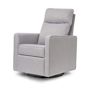DaVinci Gabby Pillowback Swivel Glider in Misty Grey, Greenguard Gold Certified
