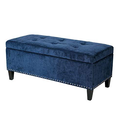 Joveco Storage Ottoman Bench Microfiber Rectangular Button Tufted Footstool (Dark Blue)