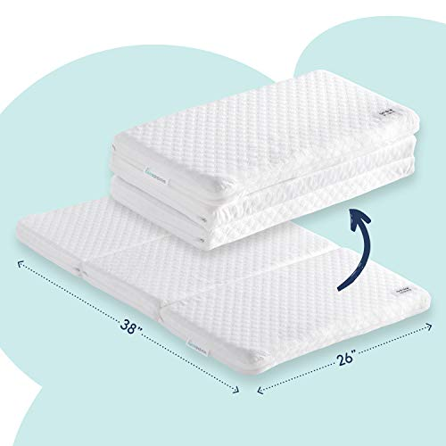hiccapop Tri-fold Pack n Play Mattress Pad with Firm (for Babies) & Soft (Toddlers) Sides | Portable Foldable Playard Mattress, Playpen Mattress for Pack and Play Crib | Includes Carry Case